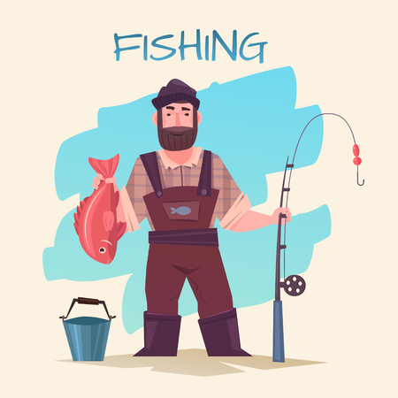fisher man: Fishing vector illustration. Fisherman with rod and fish isolated. Time for fishing. Funny cartoon professional fisherman. Active People. Time for Fishing. Illustration