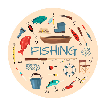 Fishing tools illustration in circle shape. Fishing symbols, vector icons: life ring, chair, hat, bag, boat, knife, net, boots. Items fishing hook tackle bait reel anchor bucket