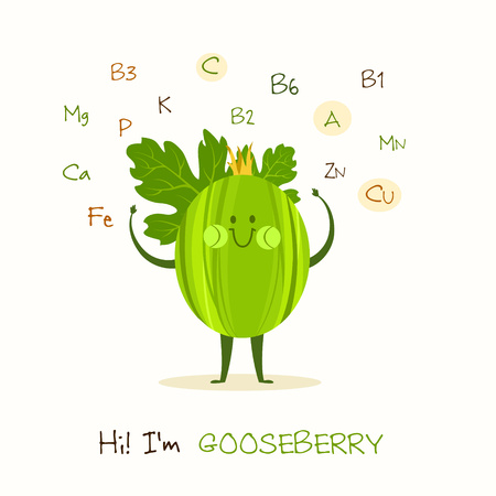 Illustration with funny character. Funny and healthy food. Vitamins contained in blackberry. Food with cute face. Vector cartoon. Illustration