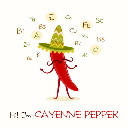 cayenne: Illustration with funny character. Funny and healthy food. Vitamins contained in cayenne pepper. Food with cute face. Vector cartoon.