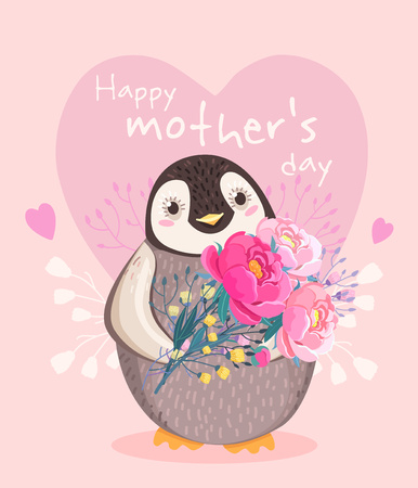 Happy Mothers day. Vector illustration of penguin with flowers. Cute animal. Sweet greeting card for holiday. Cartoon character. Congratulation, invitation in vector. Pink background with hearts.