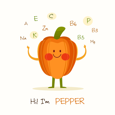 Illustration with funny character. Funny and healthy food. Vitamins contained in pepper. Food with cute face. Vector cartoon. Illustration