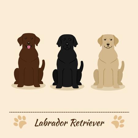 Jeu de couleurs différentes du Labrador Retriever: noir, fauve, brun. Vector Illustration de trois chiens assis. Personnages de dessins animés.