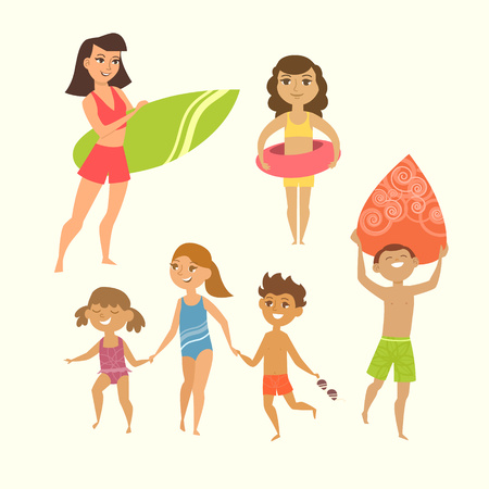 boy swim: Summer vacation. Vector illustration of kids on the beach isolated. Happy children run to swim, holding hands. Boy and girl going surfing. Curly girl with rubber circle. Illustration