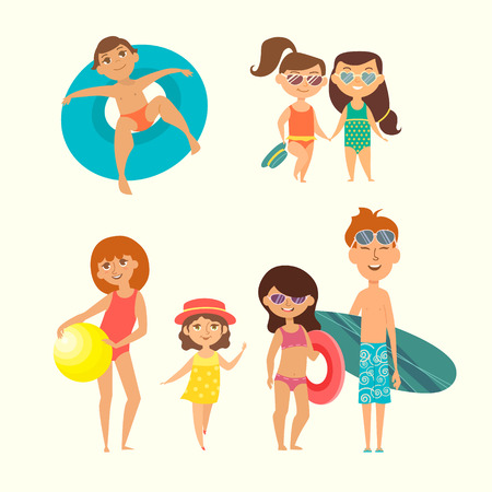Summer vacation. Vector illustration of kids on the beach isolated. Two little girls in sunglasses and with hat. Boy in a blue rubber ring. Red-haired girl with ball. Boy and girl going surfing.