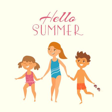 enfant maillot de bain: Vacances d'été. Vector illustration des enfants sur la plage isolée. Les enfants courent à nager, se tenant la main. Cartoon caractères des jeunes. Illustration