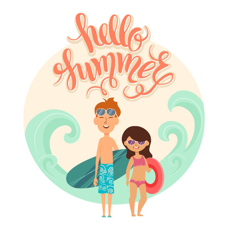 teenagers laughing: Summer vacation. Vector illustration of kids on the beach isolated. Girl and boy in sunglasses near the sea. Cartoon characters of young people. Hand drawn lettering Hello summer .