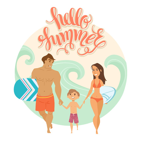 Summer vacation. Vector illustration of family on the beach isolated. Boy and parents near the sea with surfboard. Cartoon characters of people. Hand drawn lettering Hello summer .