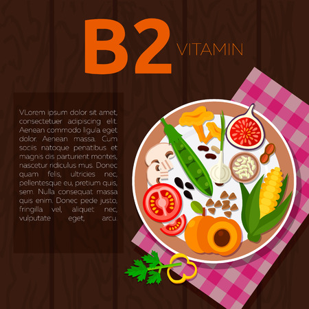 champignon: Set of vitamin B2 and useful products: chanterelle, champignon, corn, peach, rice, bean, buckwheat, tomato, pepper, green onion, peanut Healthy lifestyle and diet vector concept Food on plate Illustration