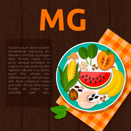 Set of Magnesium and useful products: watermelon, persimmon, banana, fish, walnuts, beans, corn, buckwheat, cashews, spinach, pumpkin seeds Healthy lifestyle and diet vector concept Food on plate