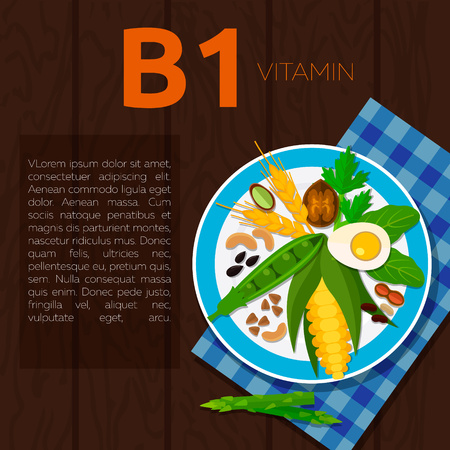 pistachios: Set of vitamin B1 and useful products: wheat, walnut, corn, peas, egg, peanuts, parsley, asparagus, cashew, pistachios, beans Healthy lifestyle and diet vector concept Food on plate