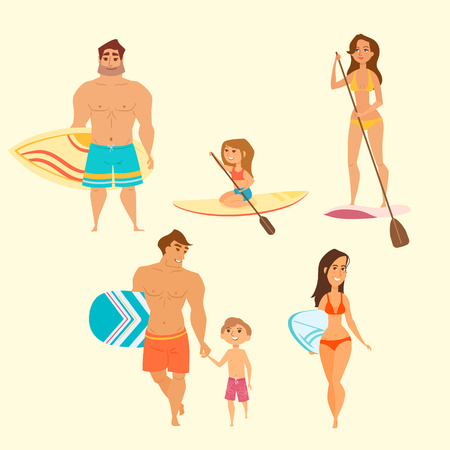 teenage girl bikini: Vector illustration of young lady surfing isolated. Set of different people on summer vacation. Beach and water sport activities cartoon characters: dad and son, cute little girl, man, young woman.