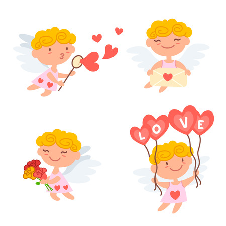 Vector illustration of cute Cartoon cupids. Valentines day design concept. Cupid angels playing, shoots a bow and giving hearts isolated on white background.