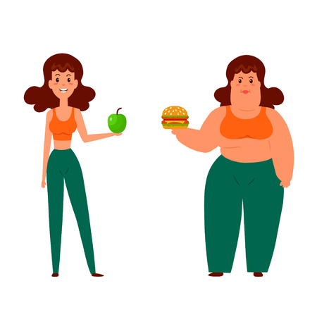 nutrition health: Cartoon funny characters. Lifestyle, good nutrition and diet. Vector illustration of fat and thin woman isolated on white background. Health and weight problems. Weight loss. Illustration