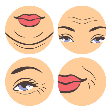 appear: Aging troubles set. Vector illustration of places where wrinkles appear in the first. Instruction about first wrinkles in circle shapes.