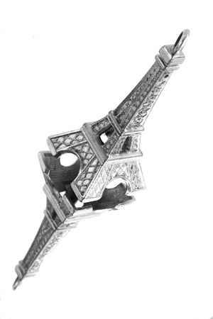 slantwise: Monochromatic miniature of the Eiffel Tower with the reflection Stock Photo