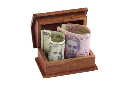 The dollar, hryvnia lie at the box Stock Photo - 7237231