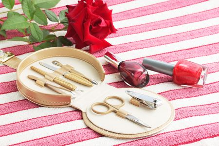 Tools for the manicure in the box photo