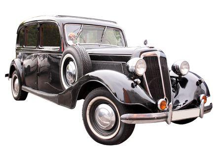 coche antiguo: transporte Vintage  negra coche retro aislados en blanco  Foto de archivo