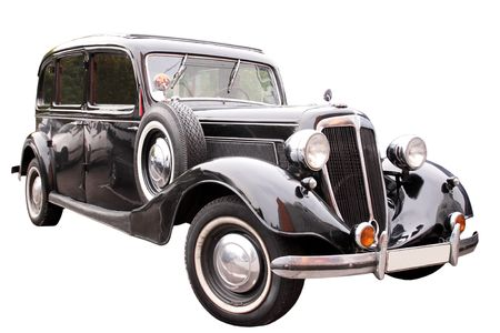 vintage transport / black retro car isolated on white Stock Photo - 7816447