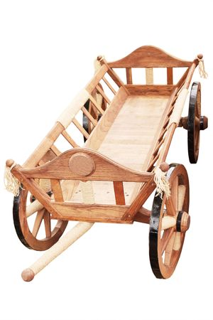wood agricultural: Decorative  vehicle for the decoration in the garden Stock Photo