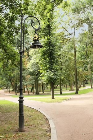 Park landscape / strolling paths and the lamp Stock Photo - 7922414