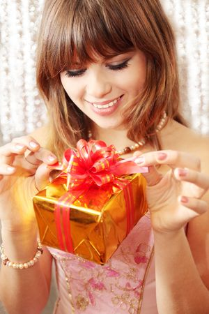 Is happy girl it reveals the gift photo