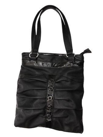 Black leather bag is isolated on the white Stock Photo - 8141185