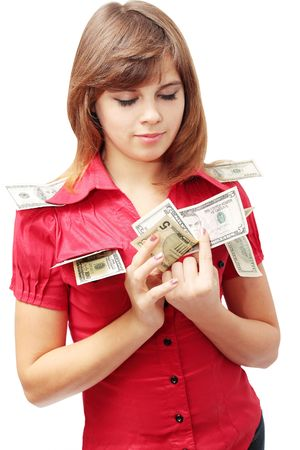 Young woman is the visualization of the money Stock Photo - 8141177