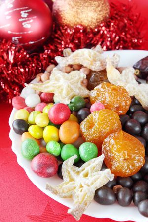 New-year sweetnesses on the platethe still life photo