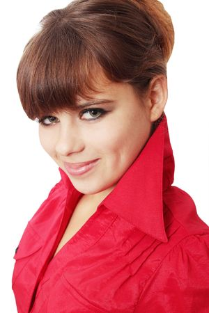 Young beautiful woman in the red shirts Stock Photo - 8216800