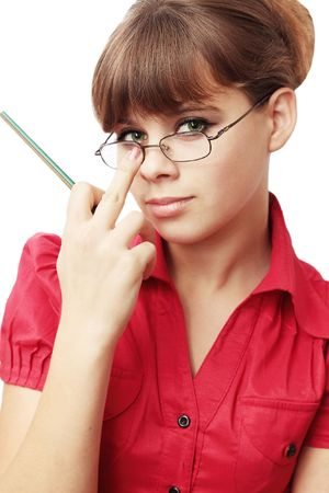 Young woman repairs glassesthe secretary photo
