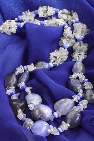 Adornment from blue chalcedony and milk quartz photo