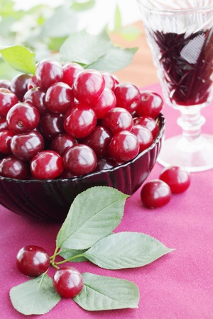 Fresh cherries in the plate and the wine