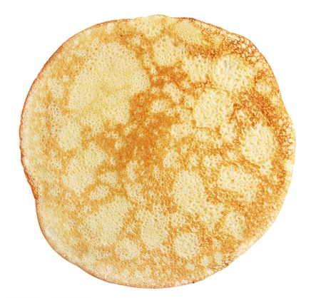 One fried pancake against the white background photo