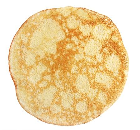 hot cakes: Un panqueque frito contra el fondo blanco