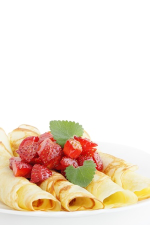 Dessert with the strawberries/the roll pancakes Stock Photo - 8952186