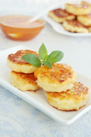 Pancakes with the cheese with the apricot jam photo