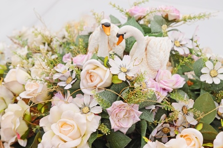 Wedding garland from flowers in the machine photo