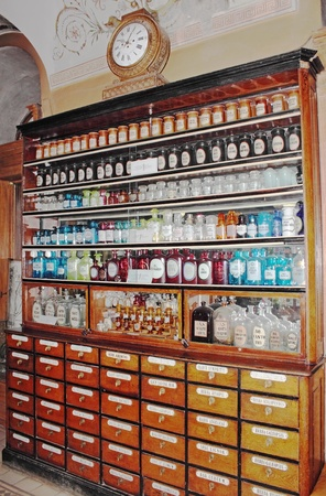Canteen with the drugs in the ancient drugstore in L'vov