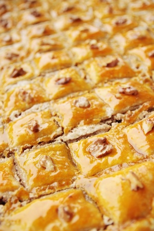 Baklava with the nuts eastern sweet dessert  Archivio Fotografico