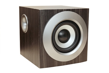wooden black subwoofer against the white background Stock Photo - 11832324