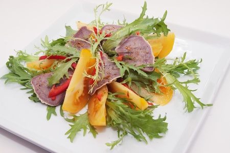 Beef Tongue with the lettuce, paprika and tomato  photo