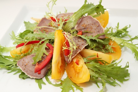 Beef Tongue with the lettuce and tomato  photo