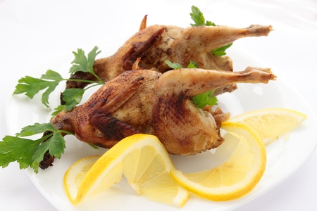 baked quail with the lemon and the parsley