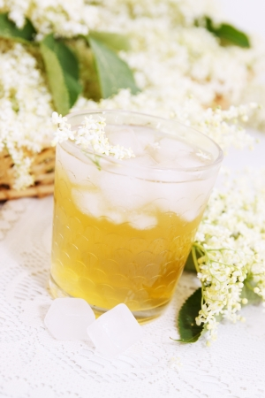 A cold refreshing summer drink made from elder flowers  photo