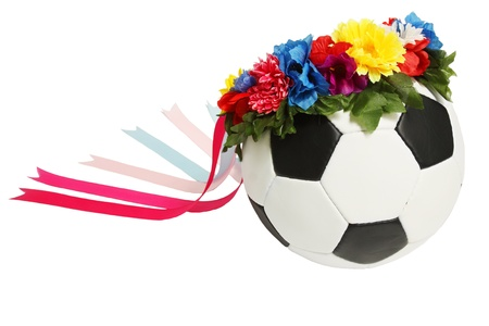 soccer ball in the Ukrainian wreath with ribbons photo