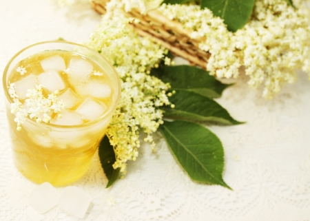 A cold refreshing summer drink made from elder flowers