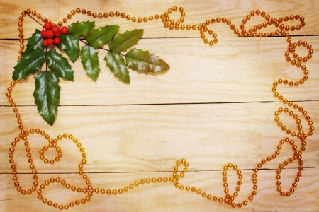 Christmas card, leaf ilex and a garland photo