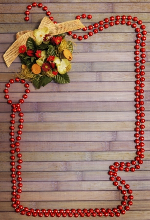 Christmas wooden background with garland and decorative wreath Stock Photo - 16666556
